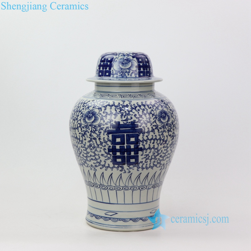 double happy and intertwined branches pattern dowry jar