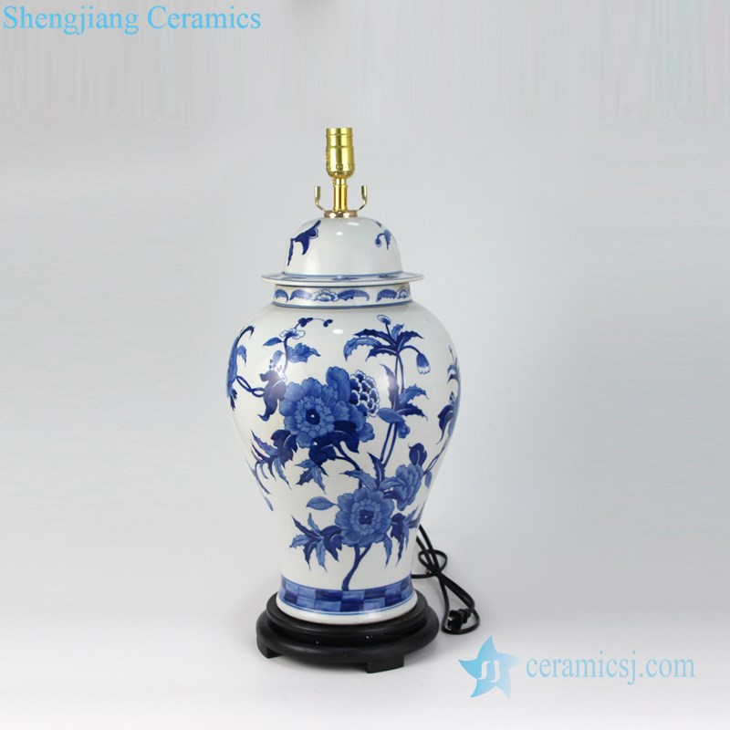 handmade porcelain lamp with white lampshade