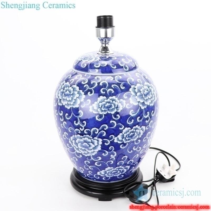 blue background porcelain lamp