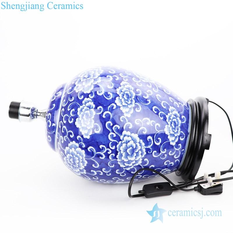 handmade blue background ceramic lamp