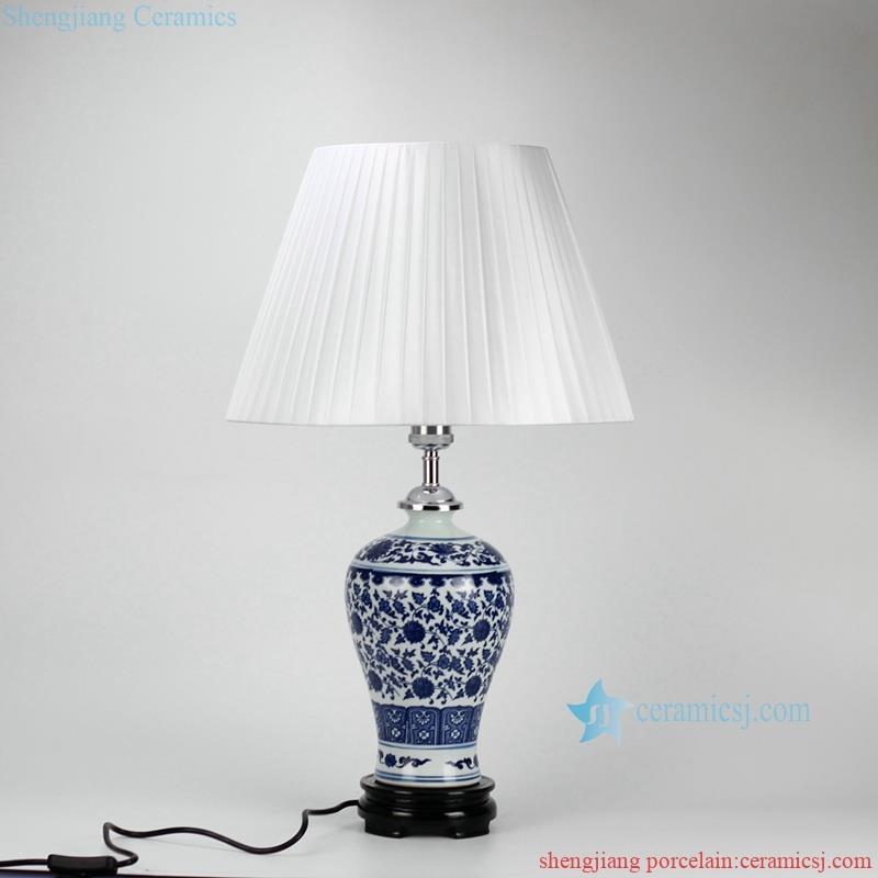 Slender handmade blue and white flower pattern cheap desk lamp