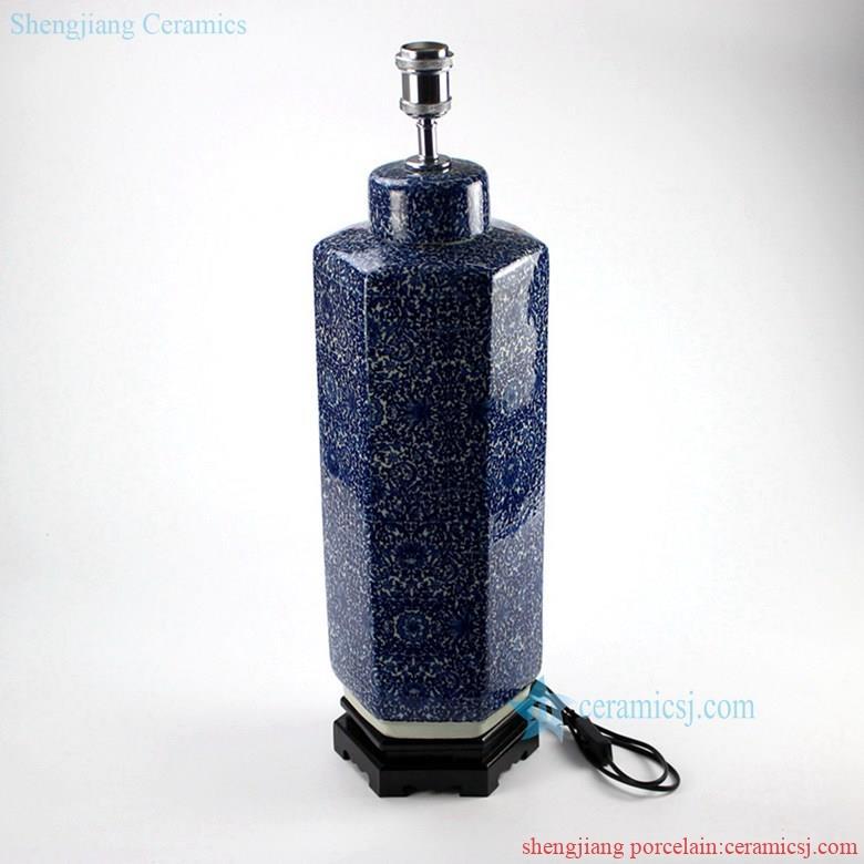 DS71-RYTM38 Hexagonal new design blue and white ceramic  tin jar lamp