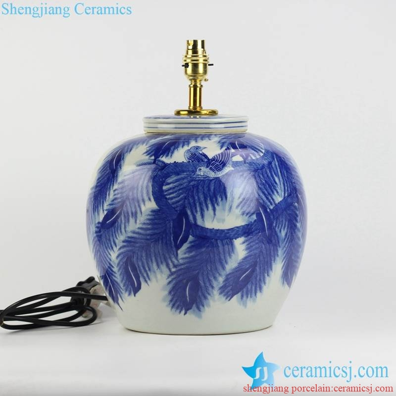 handmade leaf and couple birds pattern blue and white porcelain body table lamp