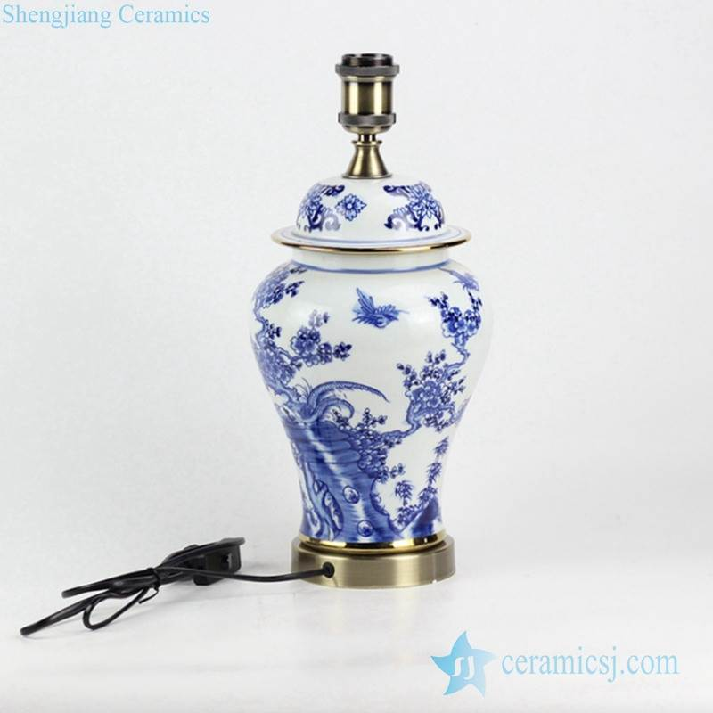low price blue and white hand drawing bird floral pattern brass basement vintage ceramic reading lamp