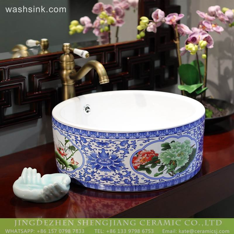 Jingdezhen Sanitary Ware Blue And White Color China Porcelain Bathroom wash Basin Sink