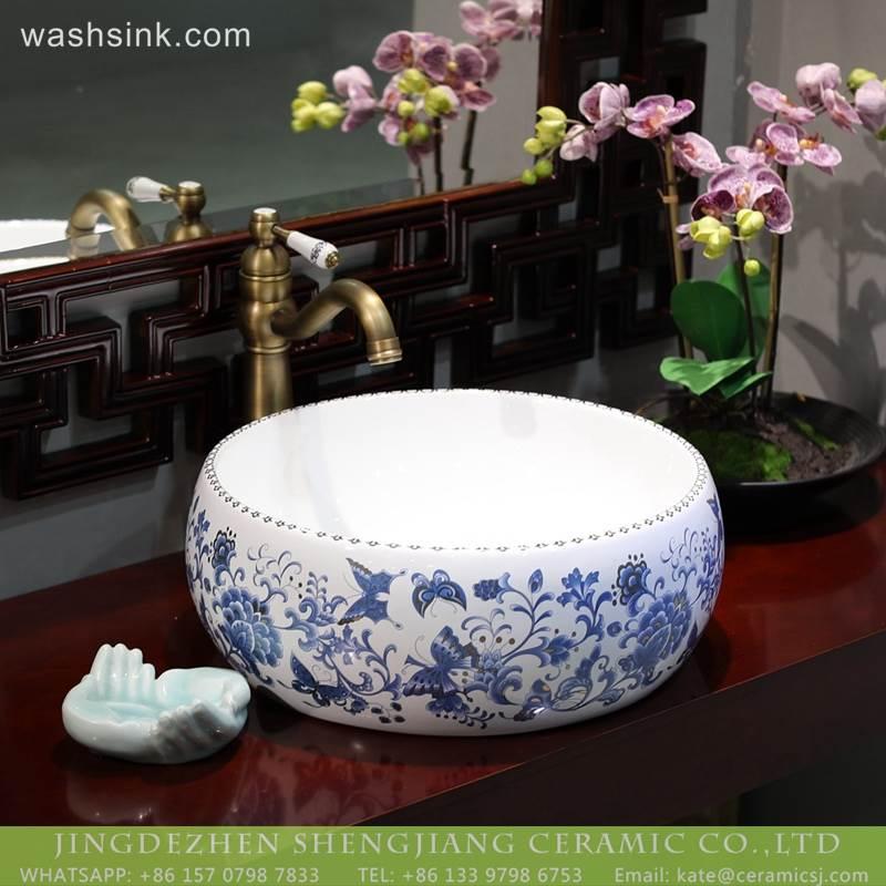 New design blue and white porcelain  smooth bathroom basins wash