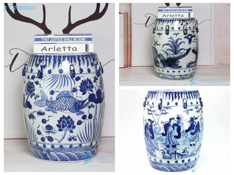 best selling  handmadeblue and white ceramic stool