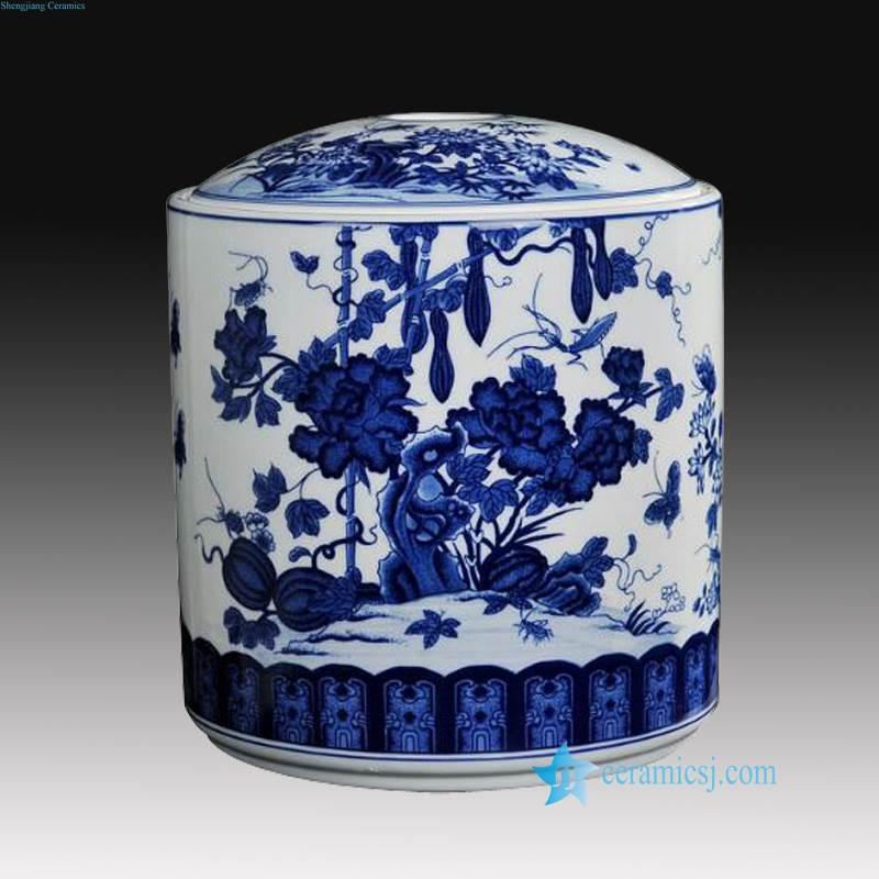 blue and white towl gouard ceramic jar