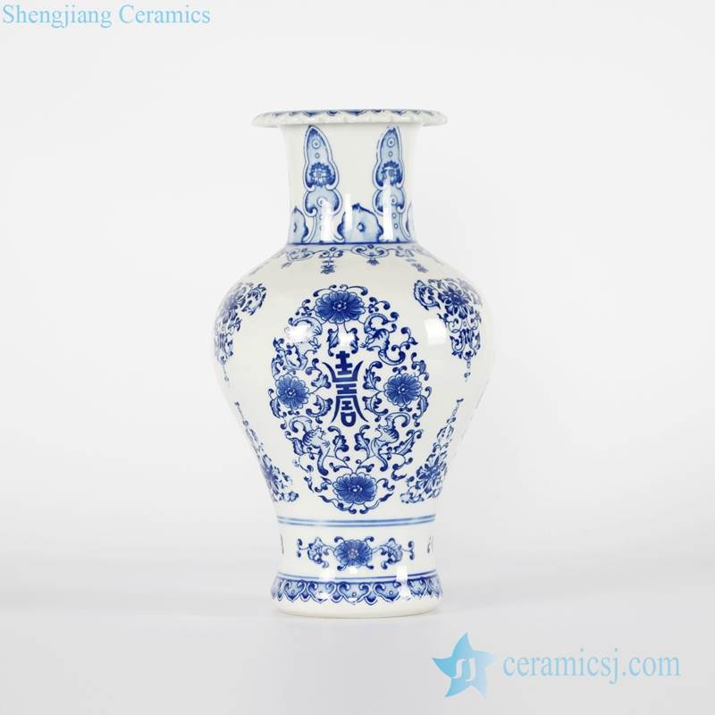 Royal style  blue and white hand paint porcelain home decor vase