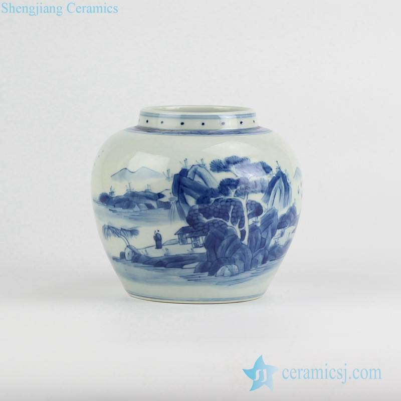 Live in seclusion pattern handmade blue and white porcelain spice jar