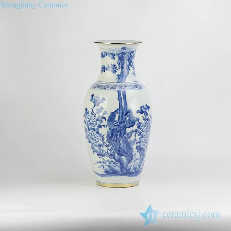 Household handmade  blue and white couple phoenix pattern golden line ceramic wedding gift vase