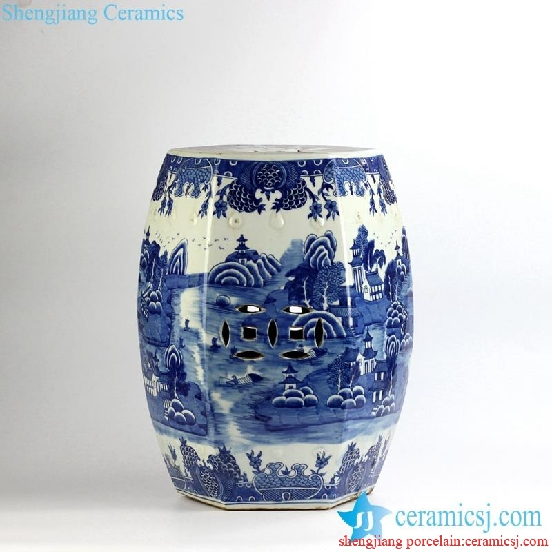 RYLU91-C_3233 6 sides handmade  landscape pattern blue and white bathroom porcelain  stool furniture
