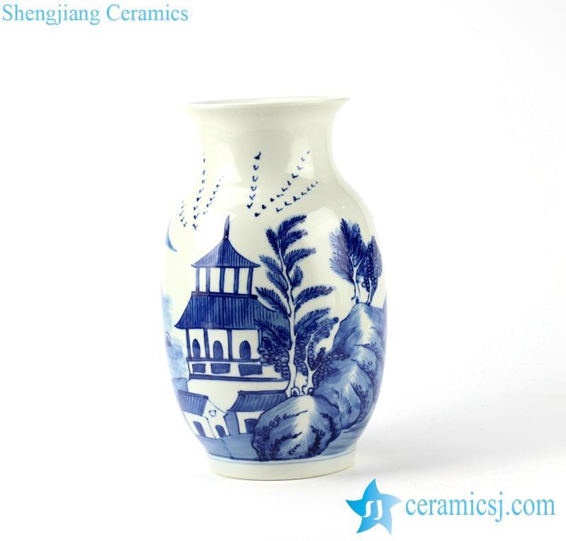 handmade pavilion pattern ceramic flower vase