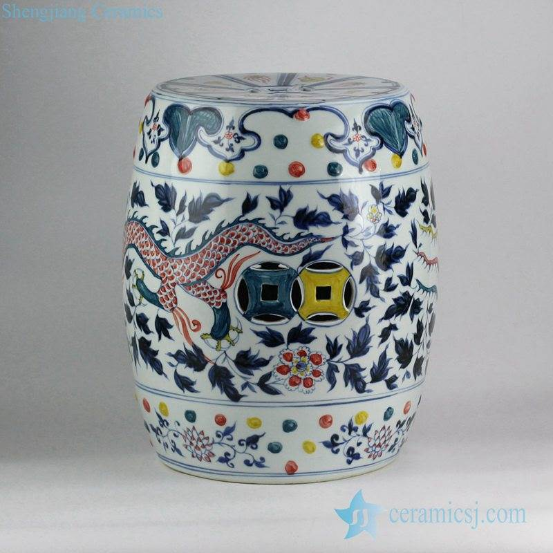 Colored intersperse blue and white handmade China dragon and phoenix pattern wedding ceramic stool