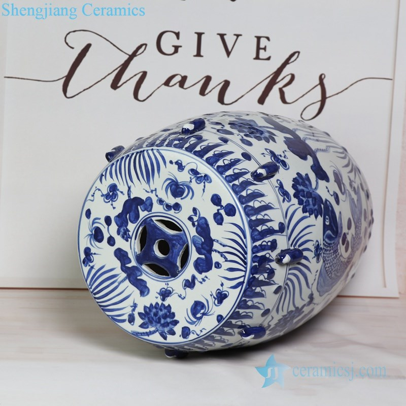 best selling blue and white ceramic stool