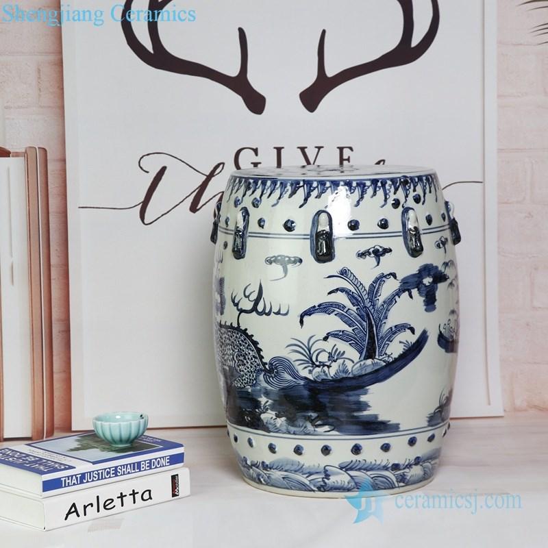 best selling handmade blue and white ceramic stool