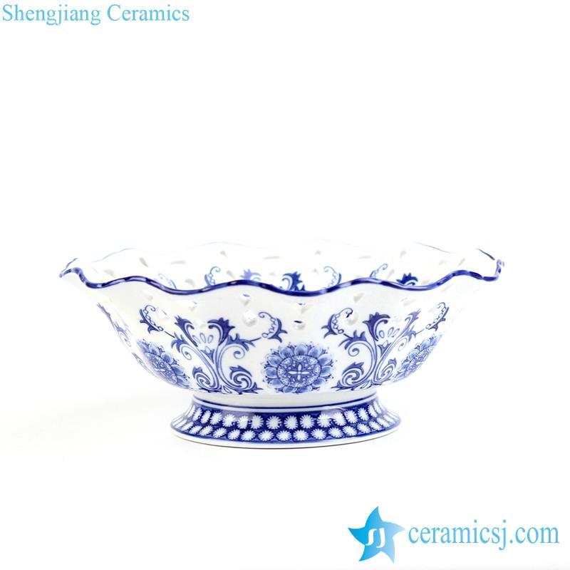 Popular and graceful handmade blue and white floral wave rim porcelain fruit serving ceramic bowl