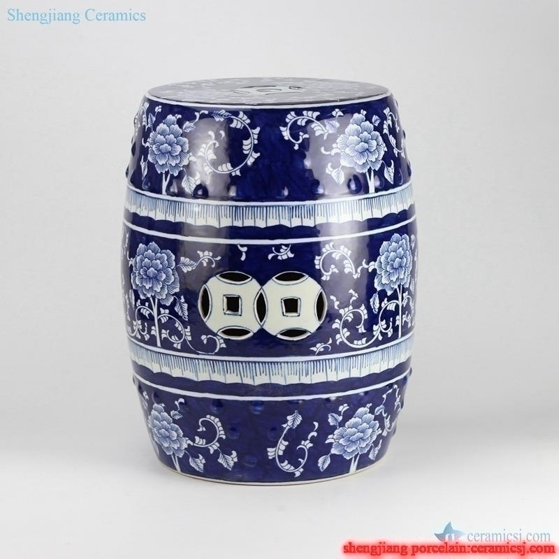Blue and white flower pattern porcelain  end table stool