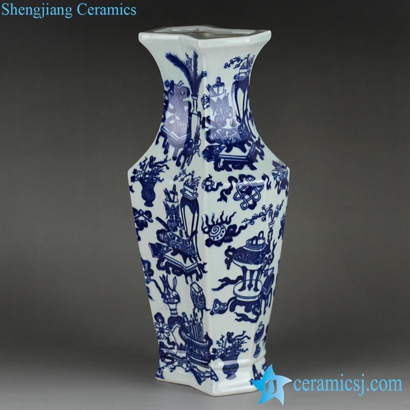 New design the eight treasures pattern handmade blue and white porcelain  flower vase