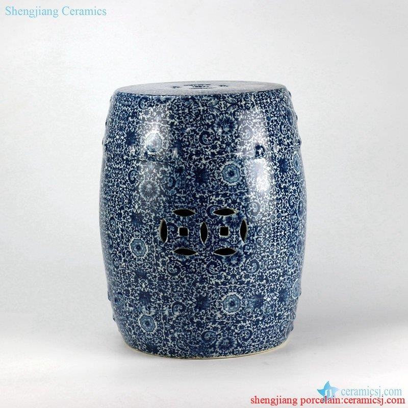 Blue and white  handmade porcelain  garden bar stool