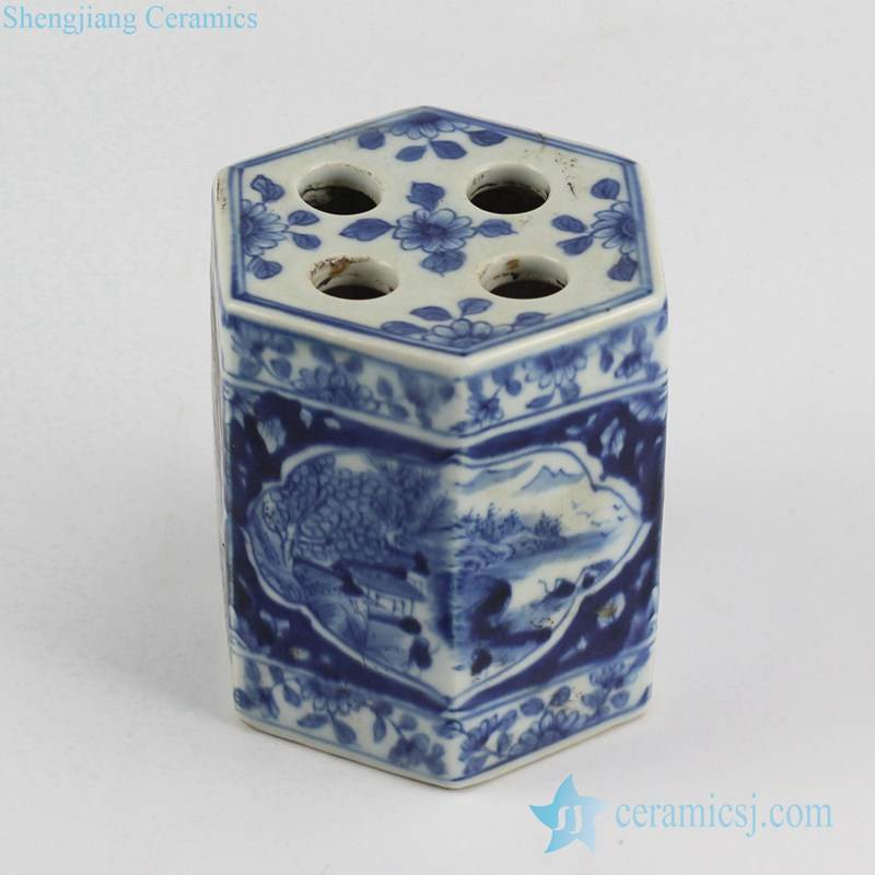 Antique style blue and white handmade  country landscape pattern porcelain teeth brush holder