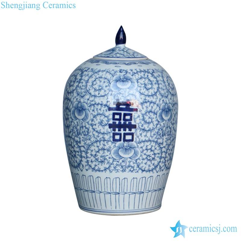 handmade  style blue and white double happiness words porcelain candle jar