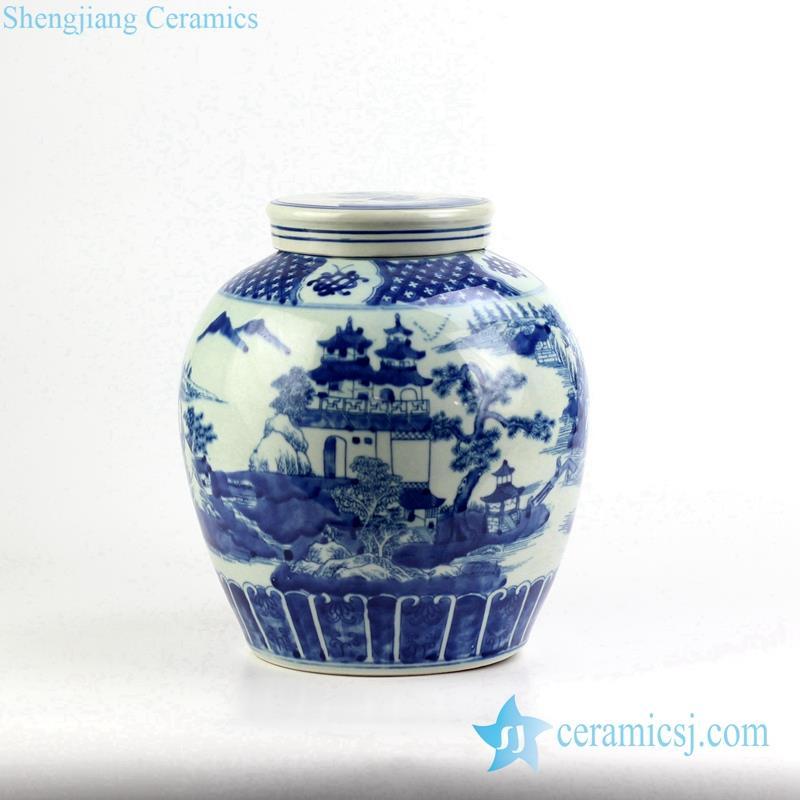 handmade porcelain  pavilion pattern jar