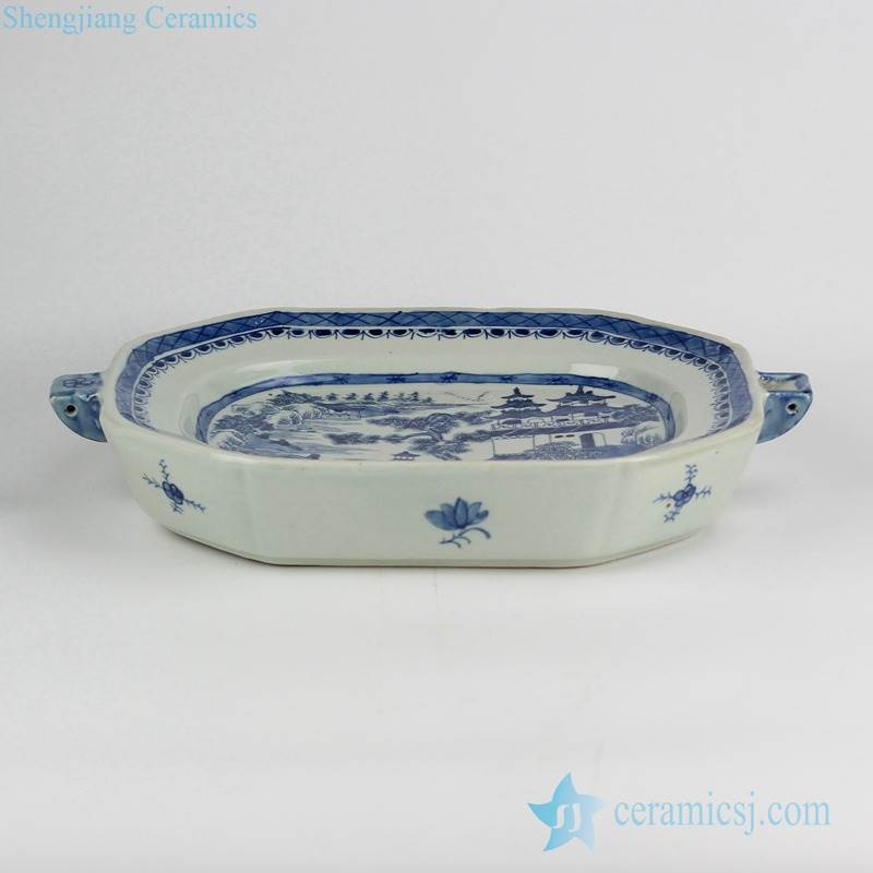 blue and white unique porcelain  roasting/pie/flan/quiche/butter/cheese dish