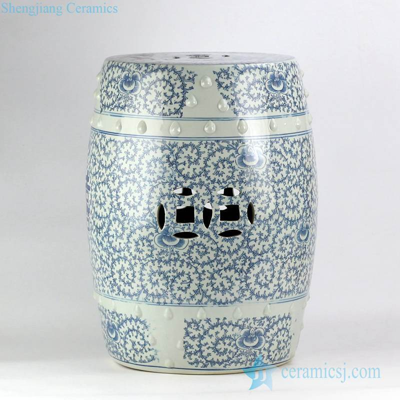 blue and white double happy letter China wedding lawn ceramic stool
