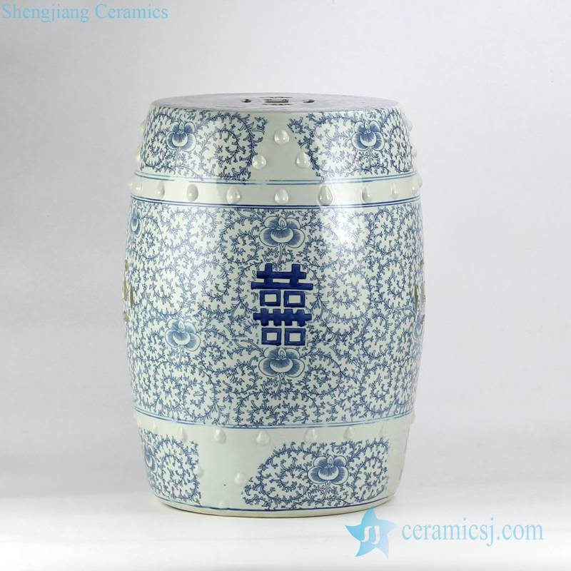 blue and white double happy letter Chinese wedding lawn ceramic stool