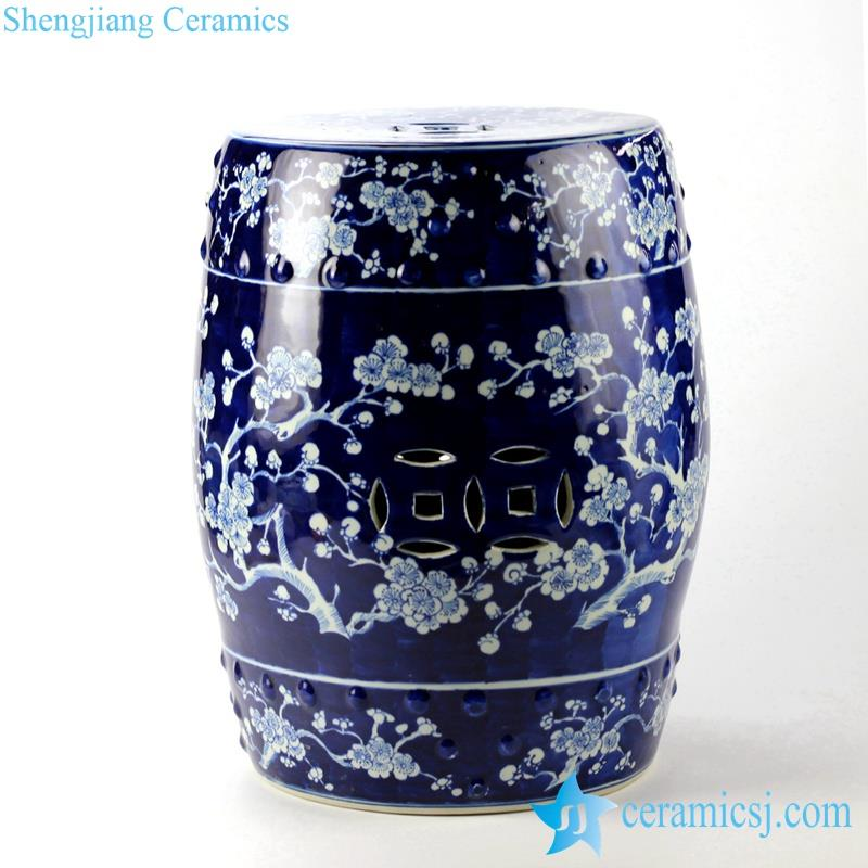handmade  blue and white winter sweet pattern ceramic stool
