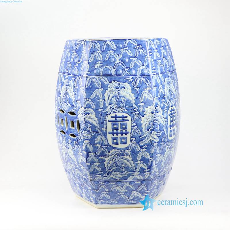 BUTTERFLY DOUBLE HAPPINESS LETTER CERAMIC STOOL