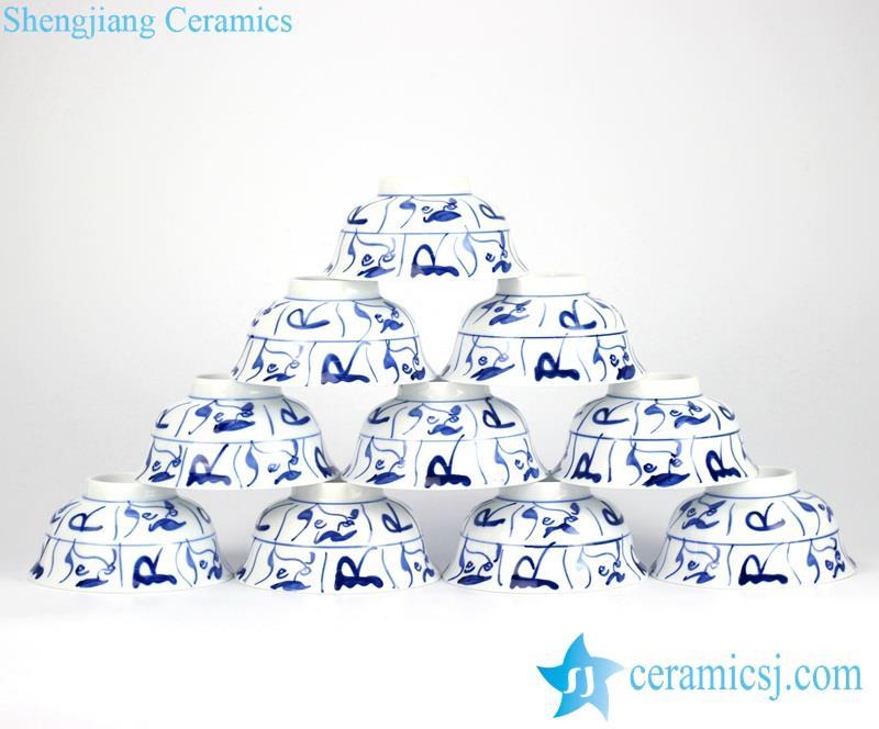 Handmade blue and white Jindezhen tranditional style porcelain 10 bowls