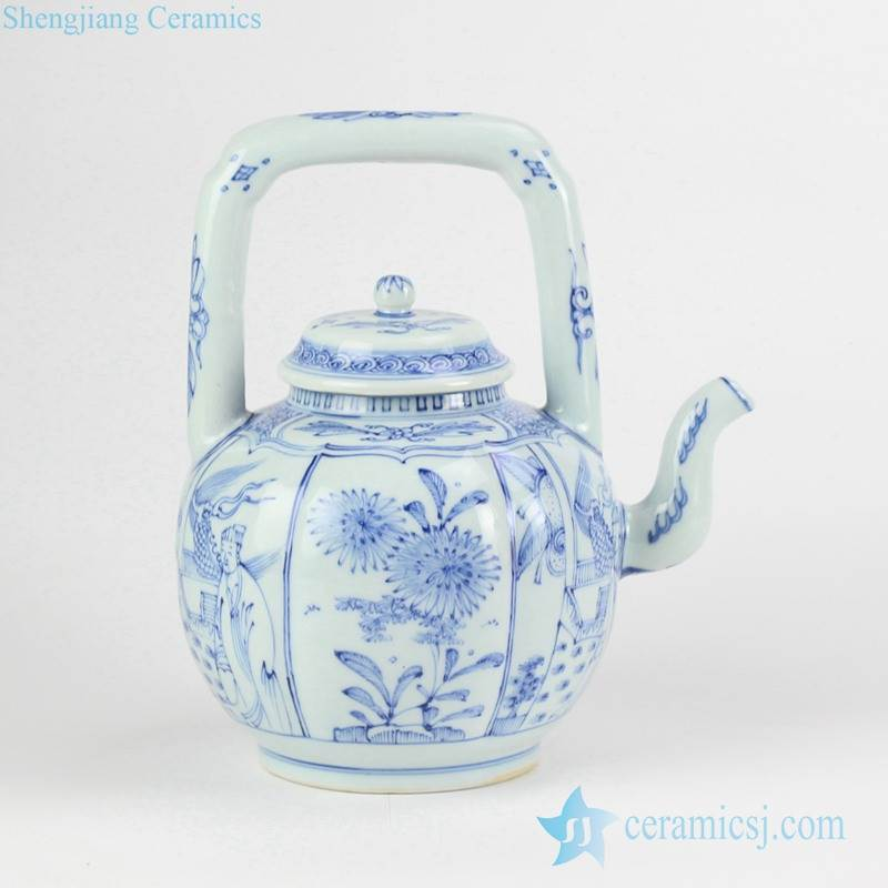 Chinese collectible vintage blue and white porcelain  tea pot with handle