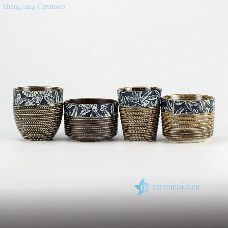 hand-painting hobbing cutter texture blue and white clay tea cups