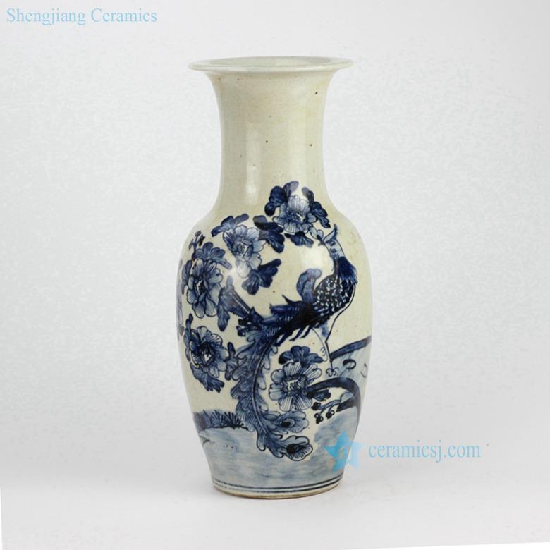 Rough clay handmade  blue and white vintage ceramic  vase