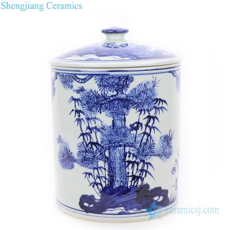 best selling handmade ceramic tea jar with bamboo pattern