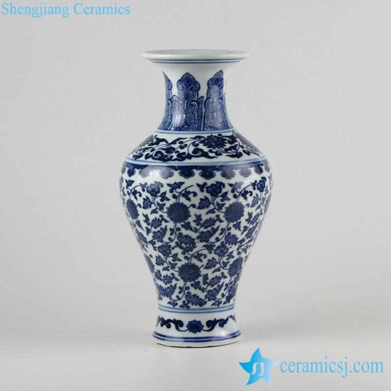Blue and white flower pattern  fish tail shape porcelain  vase