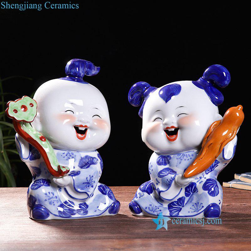a pair joyous ceramic kid figurine