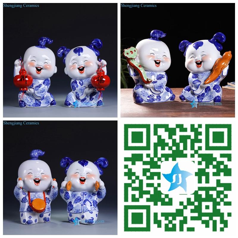 Chinese kids ceramic figurine