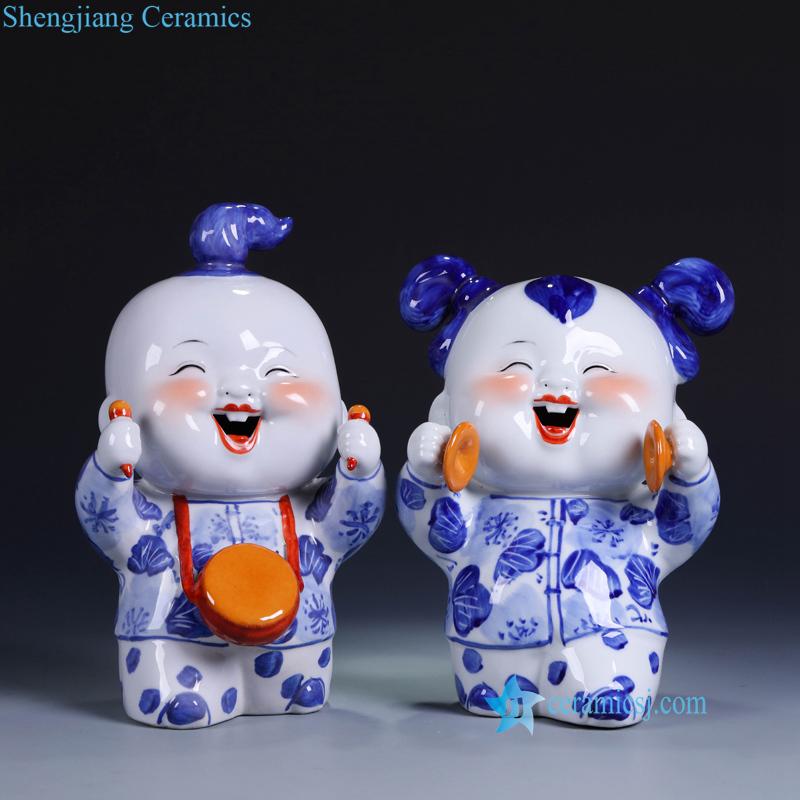 joyful ceramic kid figurine