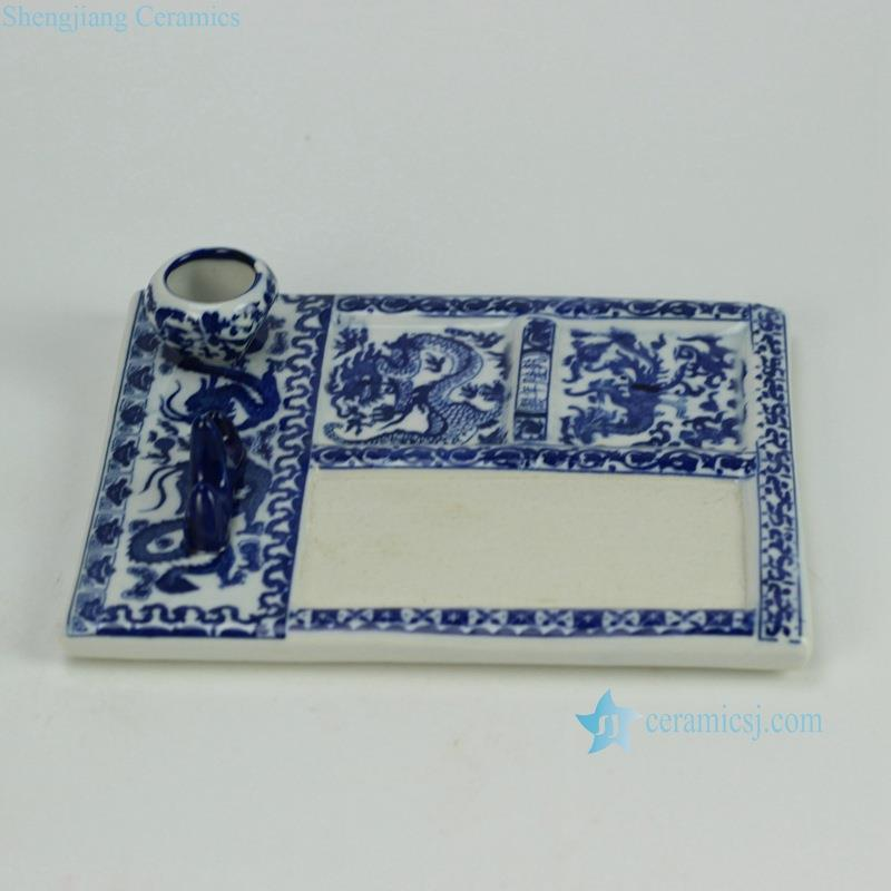 RZGE05_4790Blue and white China calligraphy ink slab with pen rack and ink ceramic pot