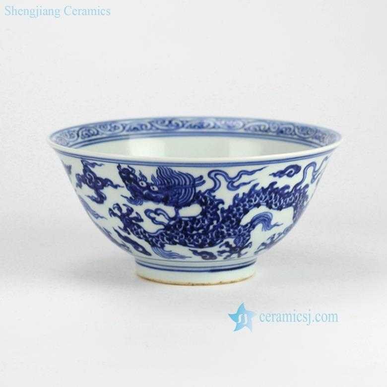 Handmade  China traditional royal dragon pattern blue and white ceramic dinner bowl