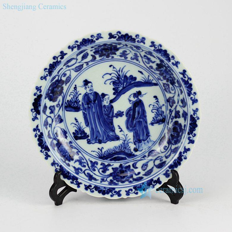 Elegant blue and white handmade porcelain serving dishes