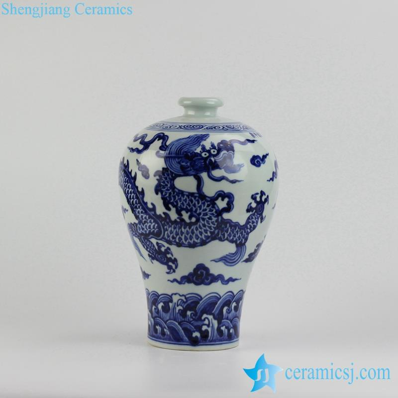 China blue dragon porcelain  meiping vase