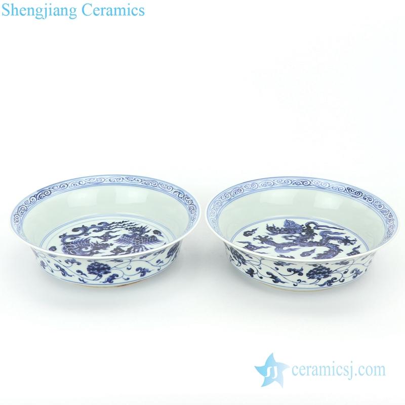 handmade pheonix and dragon design ceramic plate