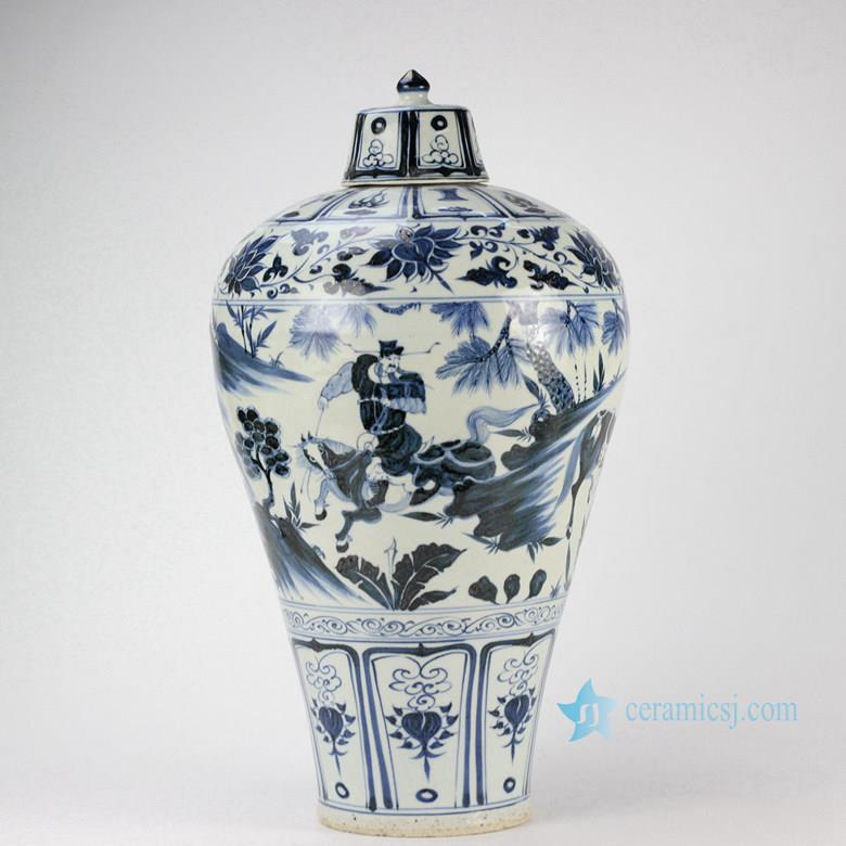 Handmade  the Three Kingdom pattern antique blue and white porcelain temple jar