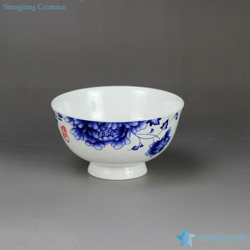 handmade blue and white peony flower mark out curled foot porcelain  household bowl
