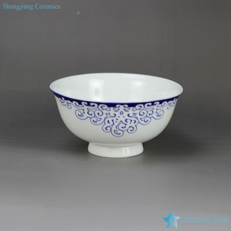 Aegean Sea weave mark blue and white scald preventing top grade bone chinese ceramic  rice bowl