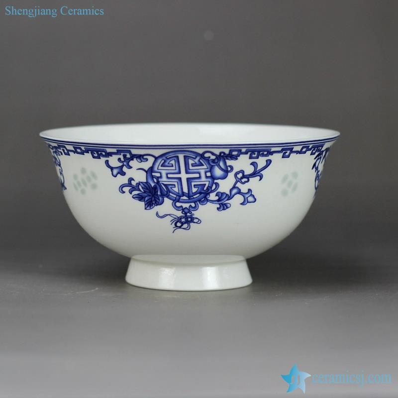 rice grain pattern handmade  blue and white happiness and longevity moral mark high heel bone chinese dinner set